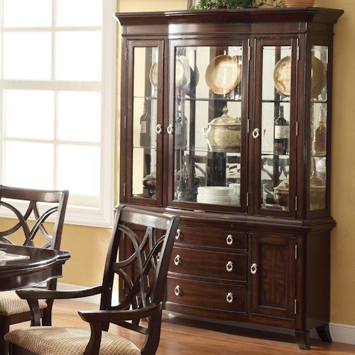 Crown Mark Katherine Glass Door China Cabinet with 3 Drawers