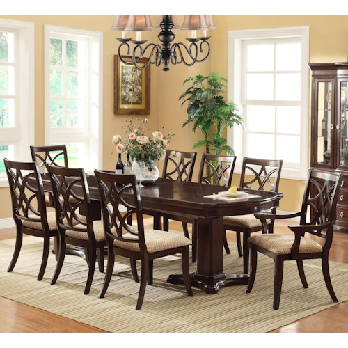 Crown Mark Katherine 9 Piece Pedestal Table & Upholstered Dining Chairs Set