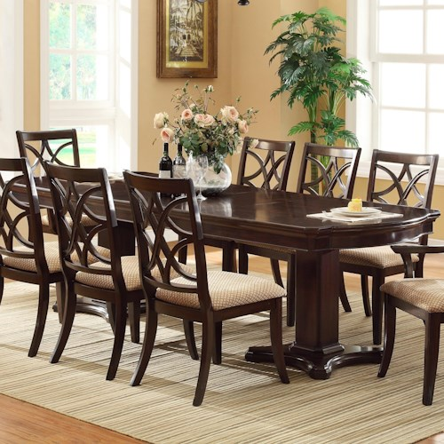 Crown Mark Katherine Double Pedestal Dining Table with 2 Extension Leaves