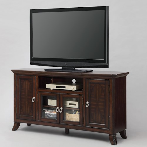 Crown Mark Katherine Entertainment Console with Doors and Open Compartment