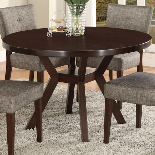 Crown Mark Kayla Round Trestle Base Dining Table