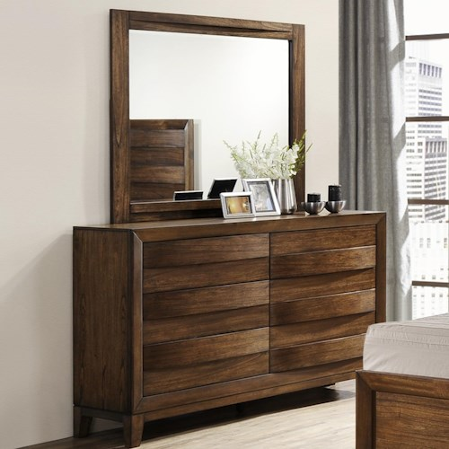Crown Mark Kelton Contemporary Dresser and Mirror Set