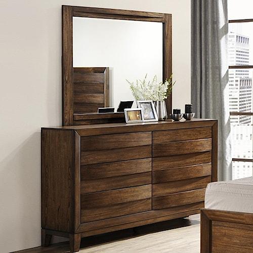 Crown Mark Kelton Contemporary Dresser and Mirror Set