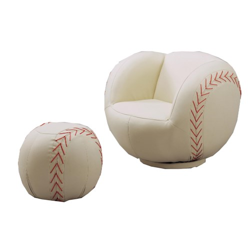 Crown Mark Kids Sport Chairs Baseball Swivel Chair & Ottoman
