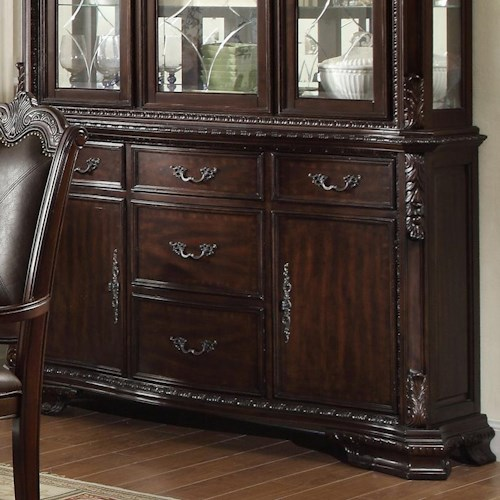 Crown Mark Kiera Traditional Buffet with 5 Drawers and 2 Doors