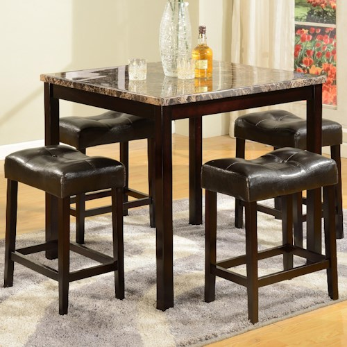 Crown Mark Kinsey 5 Piece Faux Marble Counter Table & Upholstered Stool Set