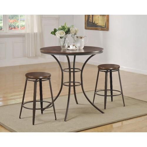 Crown Mark Kylie 3 Piece Counter Height Round Table and Swivel Stool Set