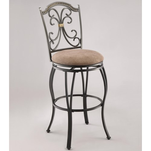Crown Mark Lauren Upholstered Swivel Barstool