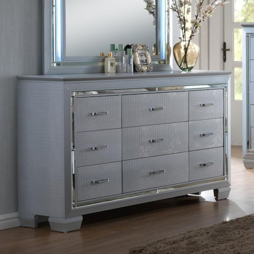 Crown Mark Lillian Dresser with Beveled Mirror Accent