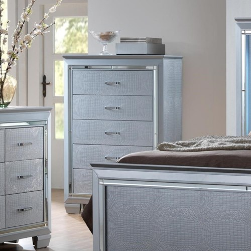 Crown Mark Lillian Glam Chest of Drawers with Beveled Mirror Accent