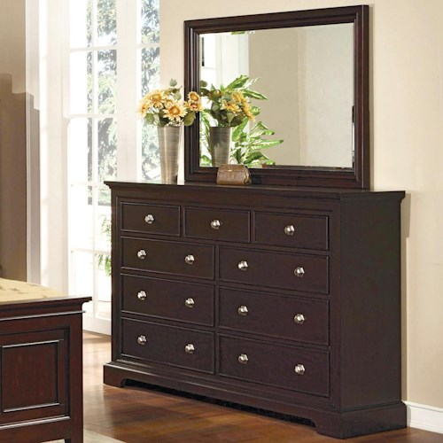 Crown Mark London 9 Drawer Dresser with Mirror Combination