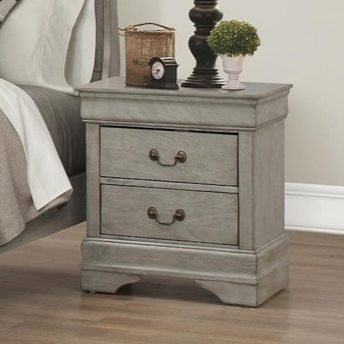 Crown Mark Louis Phillipe Nightstand with 2 Drawers
