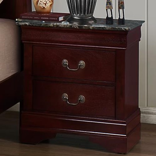 Crown Mark Louis Phillipe Nightstand With Faux Marble