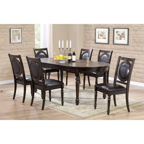 Crown Mark Lyla Turned Leg Table and Chair Set
