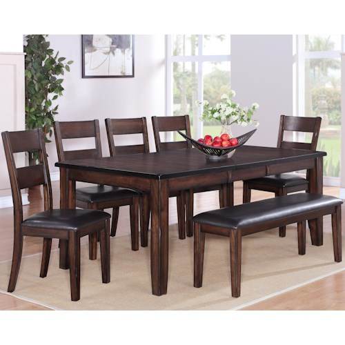 Crown Mark Maldives 7 Piece Table, Chair & Bench Dining Set