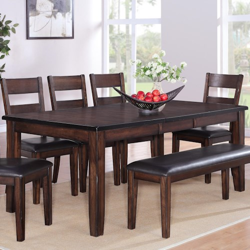 Crown Mark Maldives Rectangular Dining Table with 18