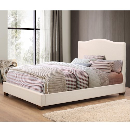 Crown Mark Mara Cream Upholstered King Bed