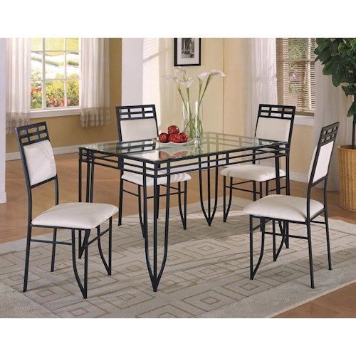 Crown Mark Matrix 5 Piece Dinette Table and Side Chairs Set