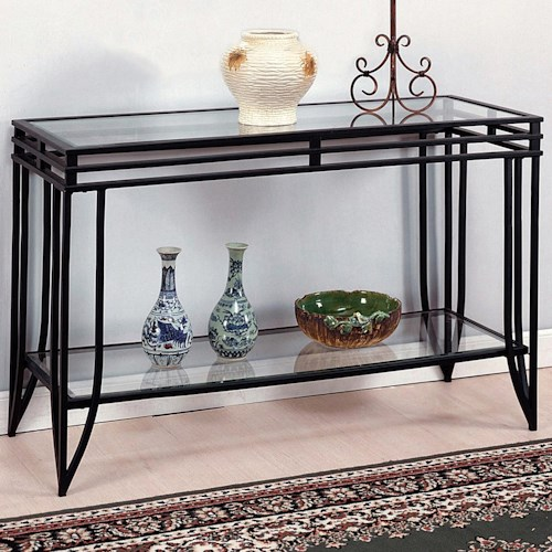 Crown Mark Matrix Glass Top Sofa Table