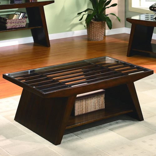 Crown Mark Midori Contemporary Coffee Table with Glass Top