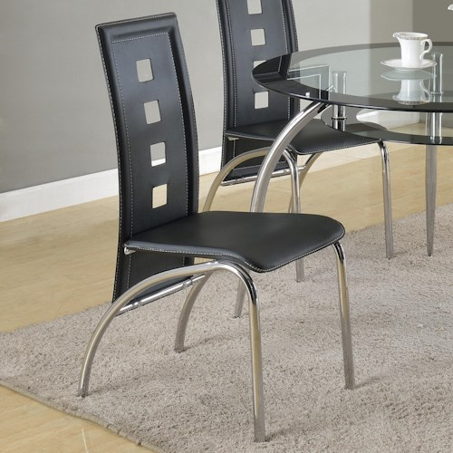 Crown Mark Mila Side Chair with Square Cutouts Seat Back