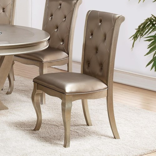 Crown Mark Mina Golden Upholstered Side Chair
