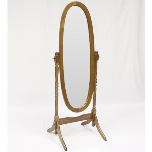 Crown Mark Miscellaneous Oak Finish Cheval Floor Mirror