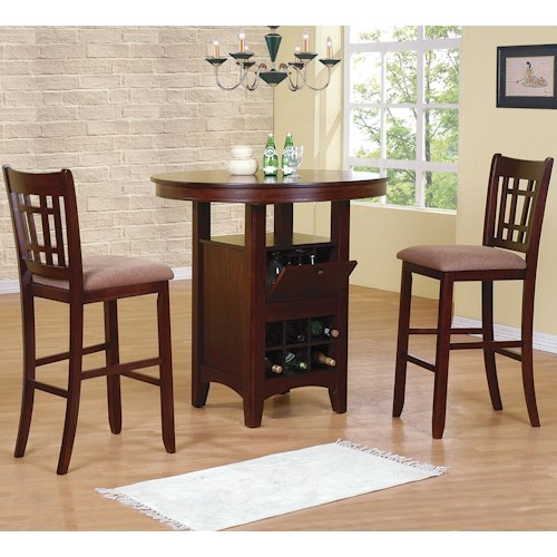 Crown Mark Miyagi 3 Piece Bar Table and Chairs Set
