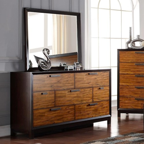 Crown Mark Mumford Contemporary Dresser and Mirror Set