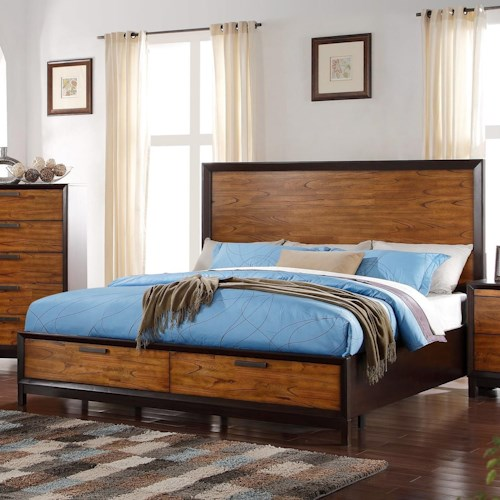 Crown Mark Mumford King Headboard and Footboard Bed with Storage Drawers