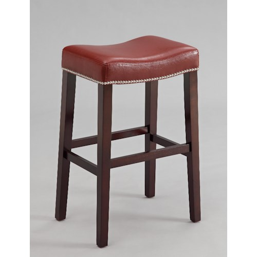 Crown Mark Nadia 30 Inch Saddle Stool with Nail Head Trim