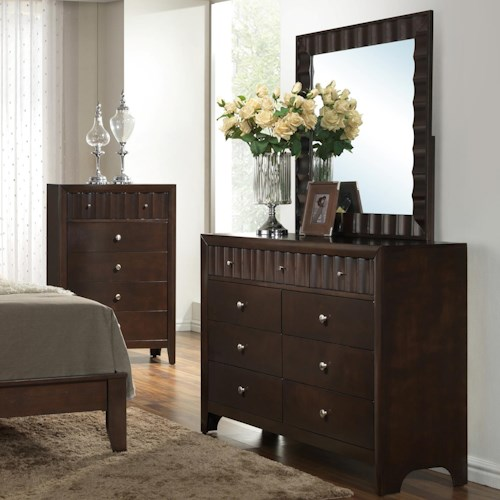 Crown Mark Nadine Dresser and Mirror Set with Concave Pattern