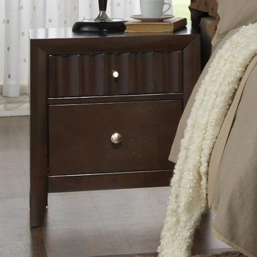 Crown Mark Nadine Transitional Nightstand with Concave Pattern Drawer