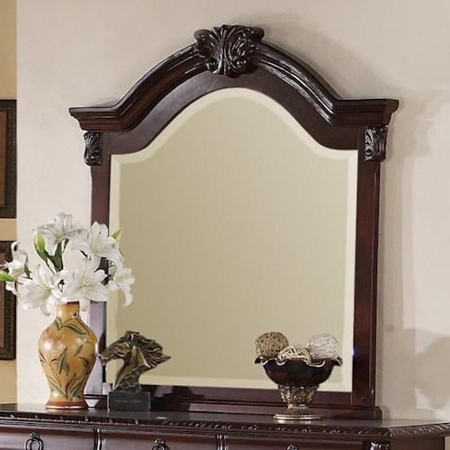Crown Mark Neo Renaissance Dresser Top Mirror with Carved Wood Accent