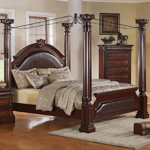 Crown Mark Neo Renaissance Queen Poster Bed with Decorative Scrollwork