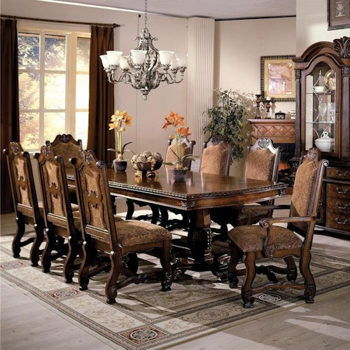 Crown Mark Neo Renaissance Double Pedestal Dining Table and Chairs with Traditional Upholstered Seats