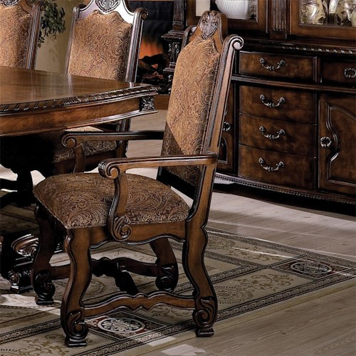 Crown Mark Neo Renaissance Dining Arm Chair with Traditional Upholstered Seat