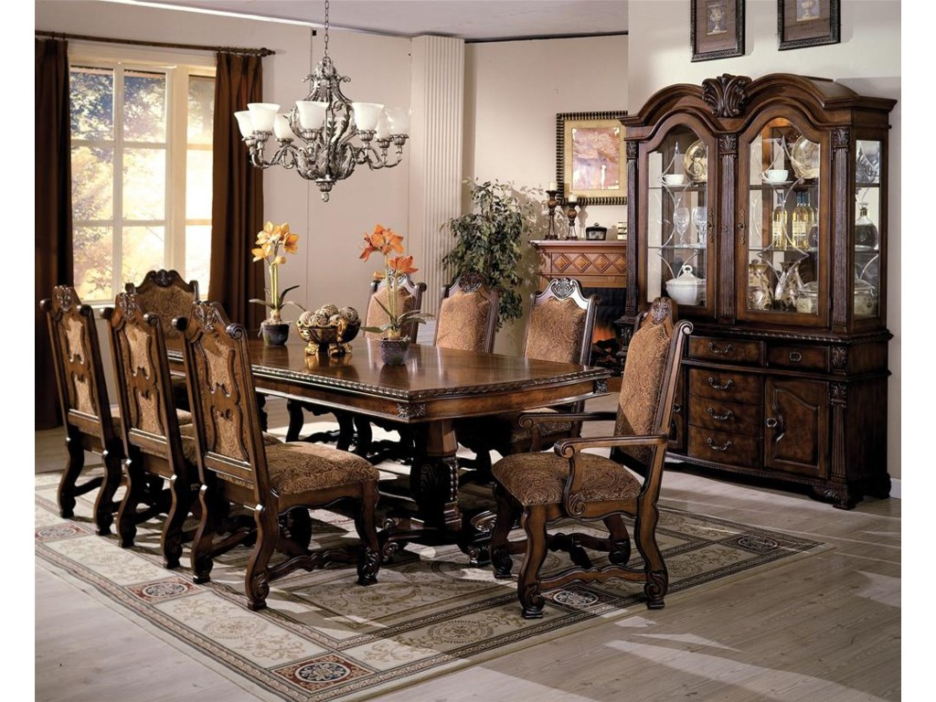 Shown with Arm Chairs, Dining Table, Buffet and Hutch