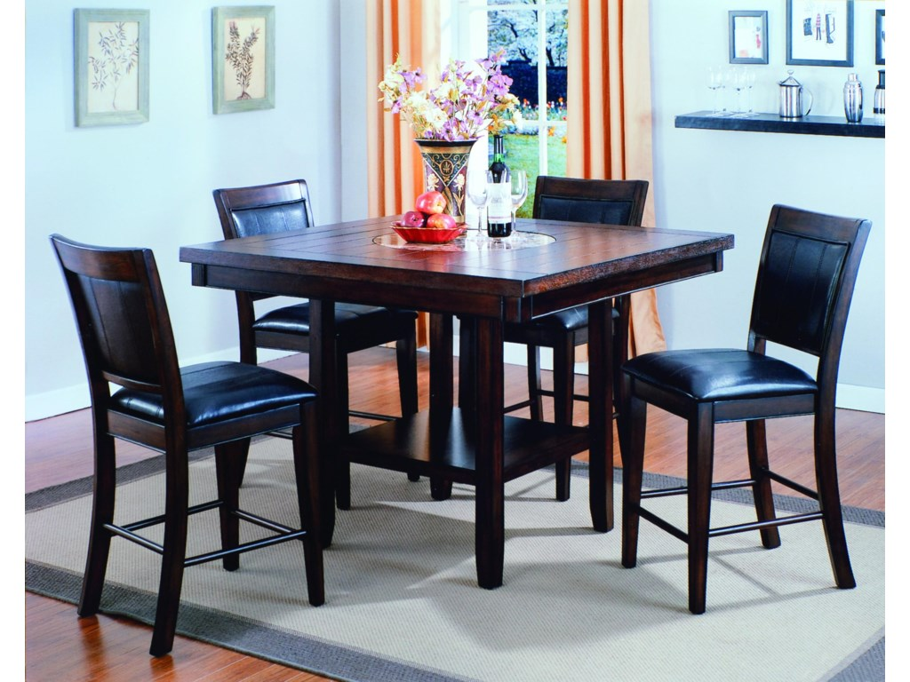 5 Piece Bar Table Set Crown Mark Fulton 5 Piece Counter Height Table And Chair Set