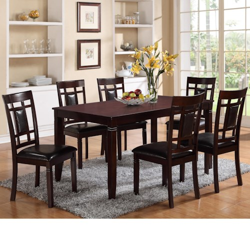 Crown Mark Paige 7 Piece Table and Chair Set  with Block Feets