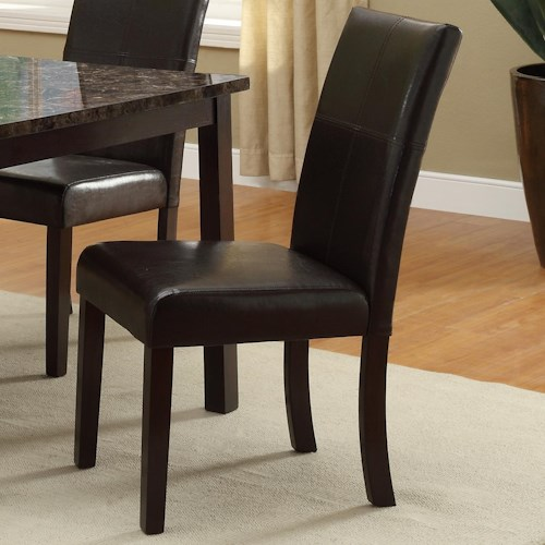 Crown Mark Pompei Upholstered Dining Side Chair with Accent Stitching