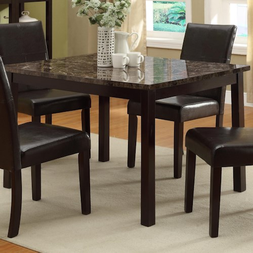 Crown Mark Pompei Rectangular Dining Table with Faux Marble Table Top
