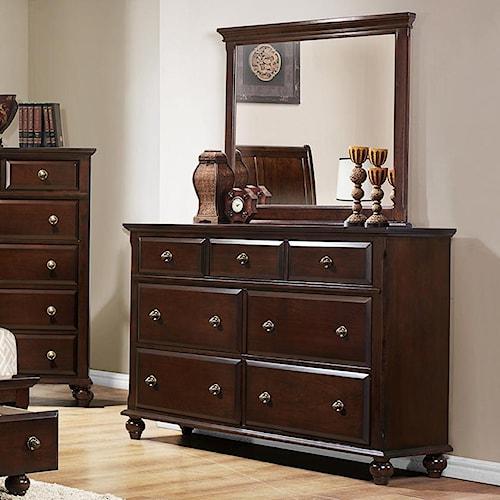 Crown Mark Portsmouth B6075 7 Drawer Dresser and Mirror Set