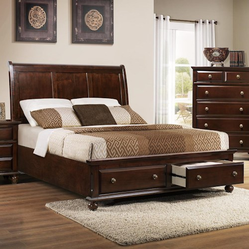 Crown Mark Portsmouth B6075 King Panel Bed with Storage Footboard