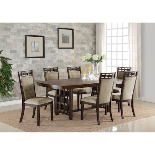 Crown Mark Pryce Contemporary 7 Piece Table and Chair Set