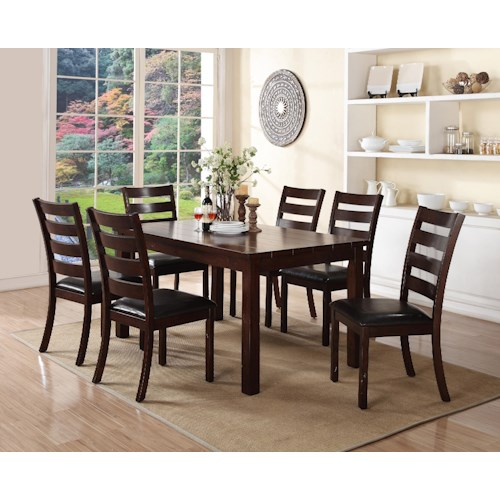 Crown Mark Quinn 7 Piece Rectangular Table and Upholstered Seat Chair Set