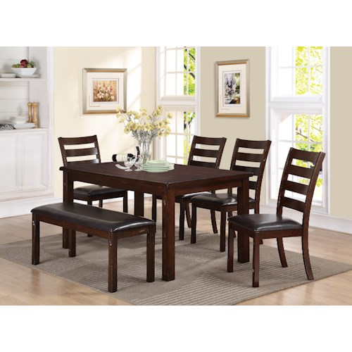 Crown Mark Quinn 6 Piece Rectangular Table and Upholstered Bench Dining Set
