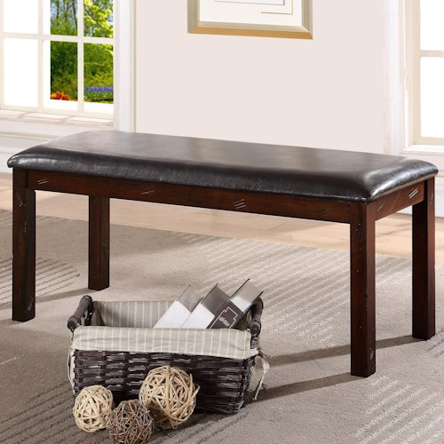 Crown Mark Quinn Dining Bench with Upholstered Seat