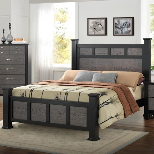Crown Mark Reagan Transitional Paneled Queen Bed
