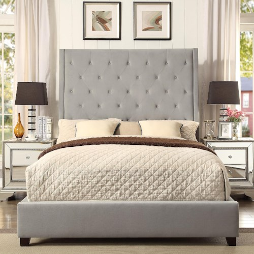 Crown Mark Reese King Upholstered Bed with Diamond Tufting